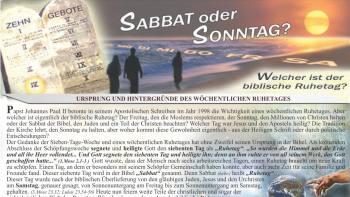 Sabbat oder Sonntag